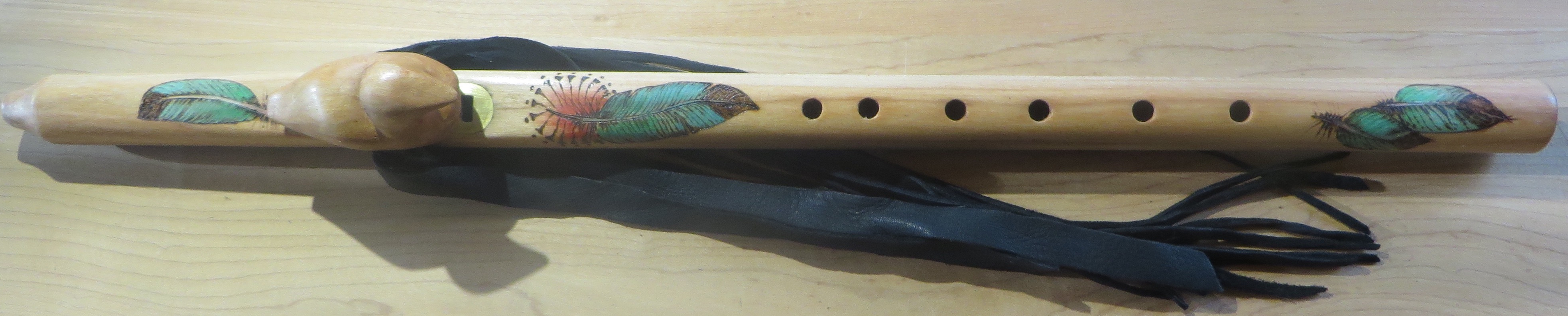 Maple F# Loon Totem Painted Feather $525.00