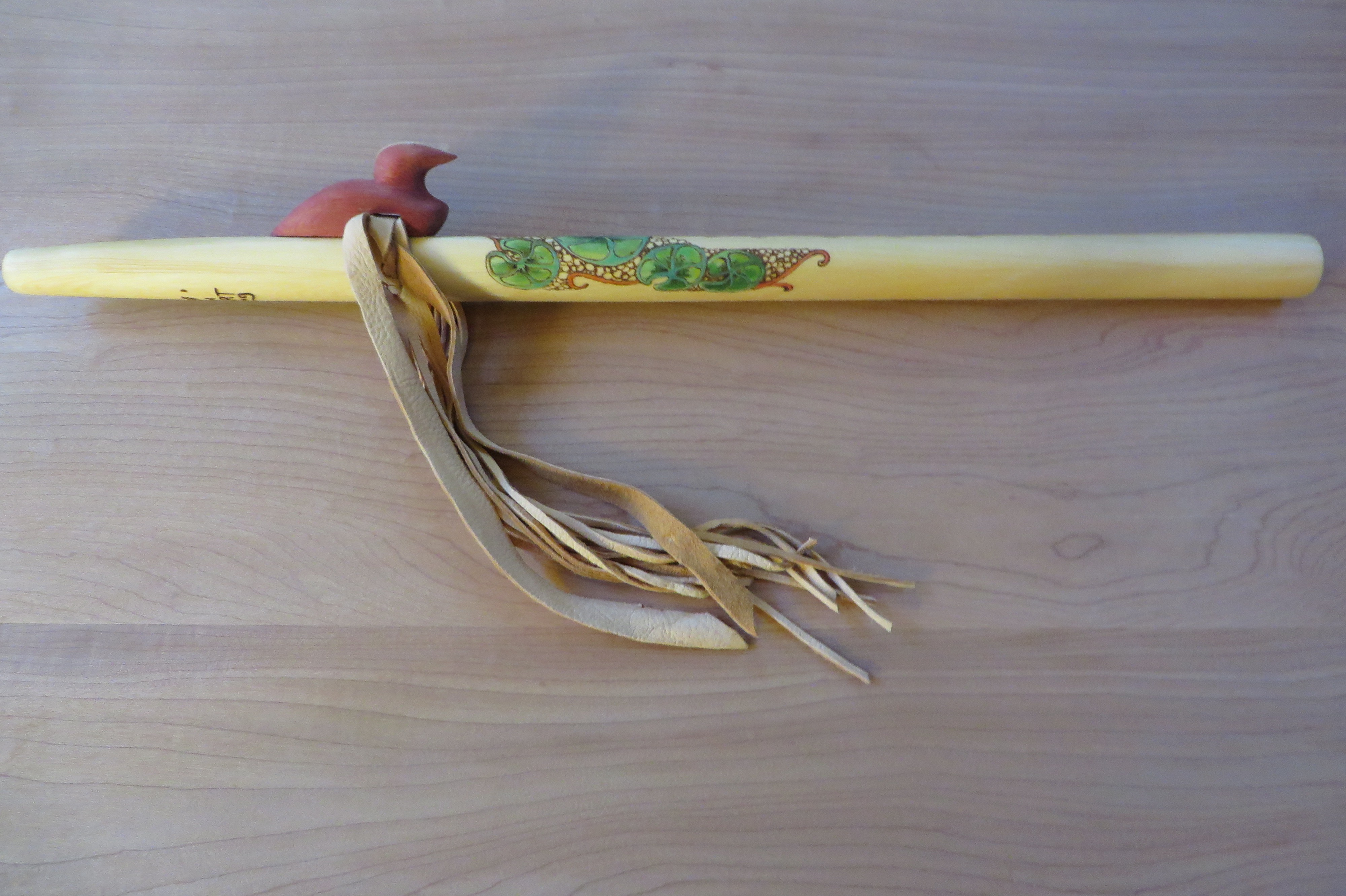 Yellow Cedar F# Painted Lilies Loon Totem $350.00